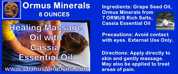 Ormus Minerals Healing Massage Oil With Cassia Essential Oil 8 oz